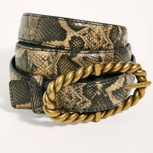 NEW Free People Sophie Buckle Belt Snake S/M